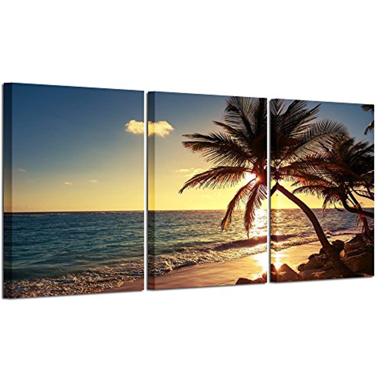 Hello artwork sunset beach palm tree multi panel