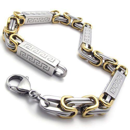 BESTSELLER! KONOV Jewelry Men`s Stainless Steel Bracelet, Gold Silver, 9 Inch $11.99