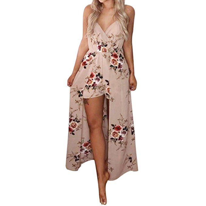 e18b1f5a30e Sunward  womensfashion Sexy  Floral Print Strap  Maxi Long  Beach  Dress  Overlay  Shorts  Jumpsuit  Rompers (M