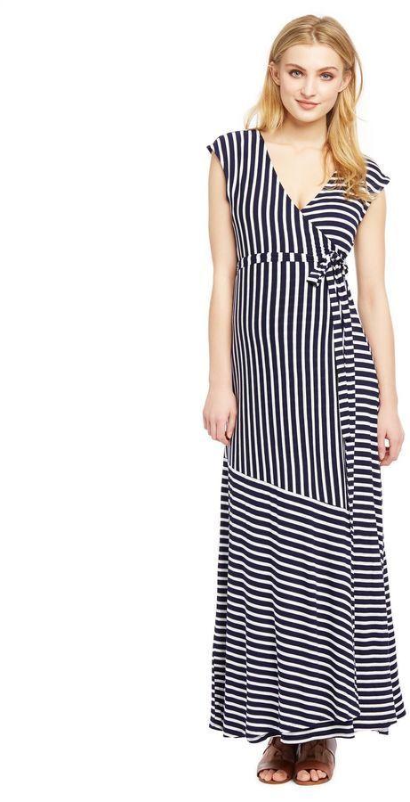 dfac0434f4b4e Motherhood Maternity Jessica Simpson Variegated Striped Maternity Maxi Dress-  Blue White Stripe