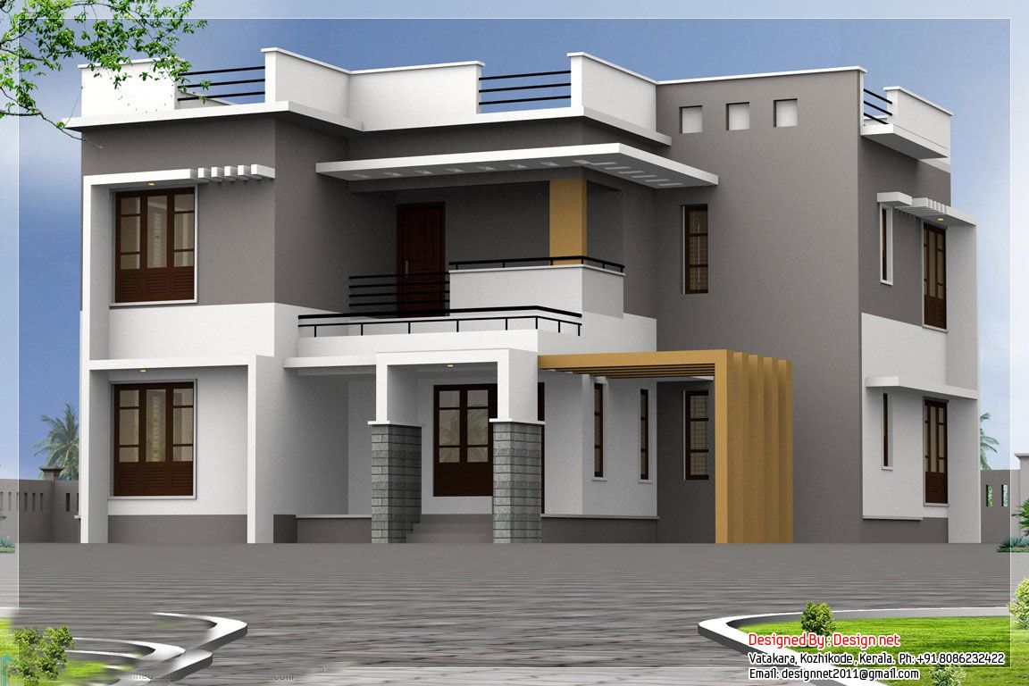 Housedesigns kerala house design modern kerala home for Home paint ideas design