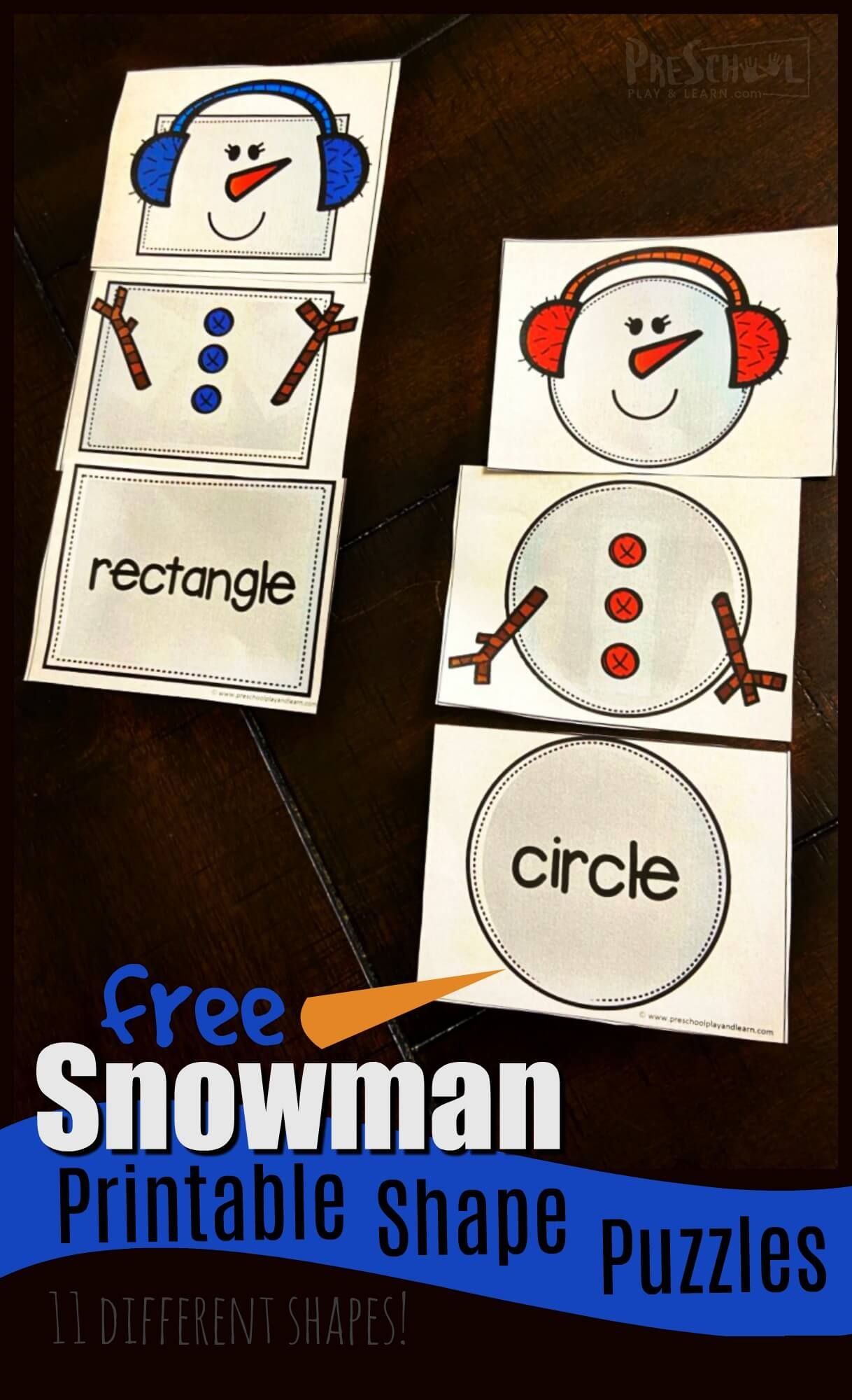 Free Snowman Printable Shape Puzzles In