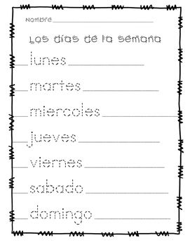 Dias De La Semana Days Of The Week Tracing Page In Spanish