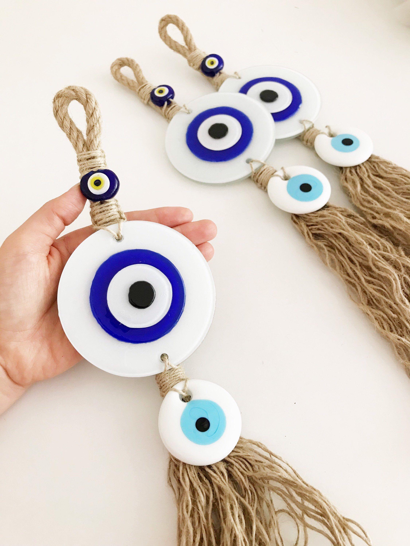 Evil Eye Home Decor Glass White Evil Eye Bead Macrame Evil Etsy Evil Eye Art Eye Decor Handmade Evil Eye