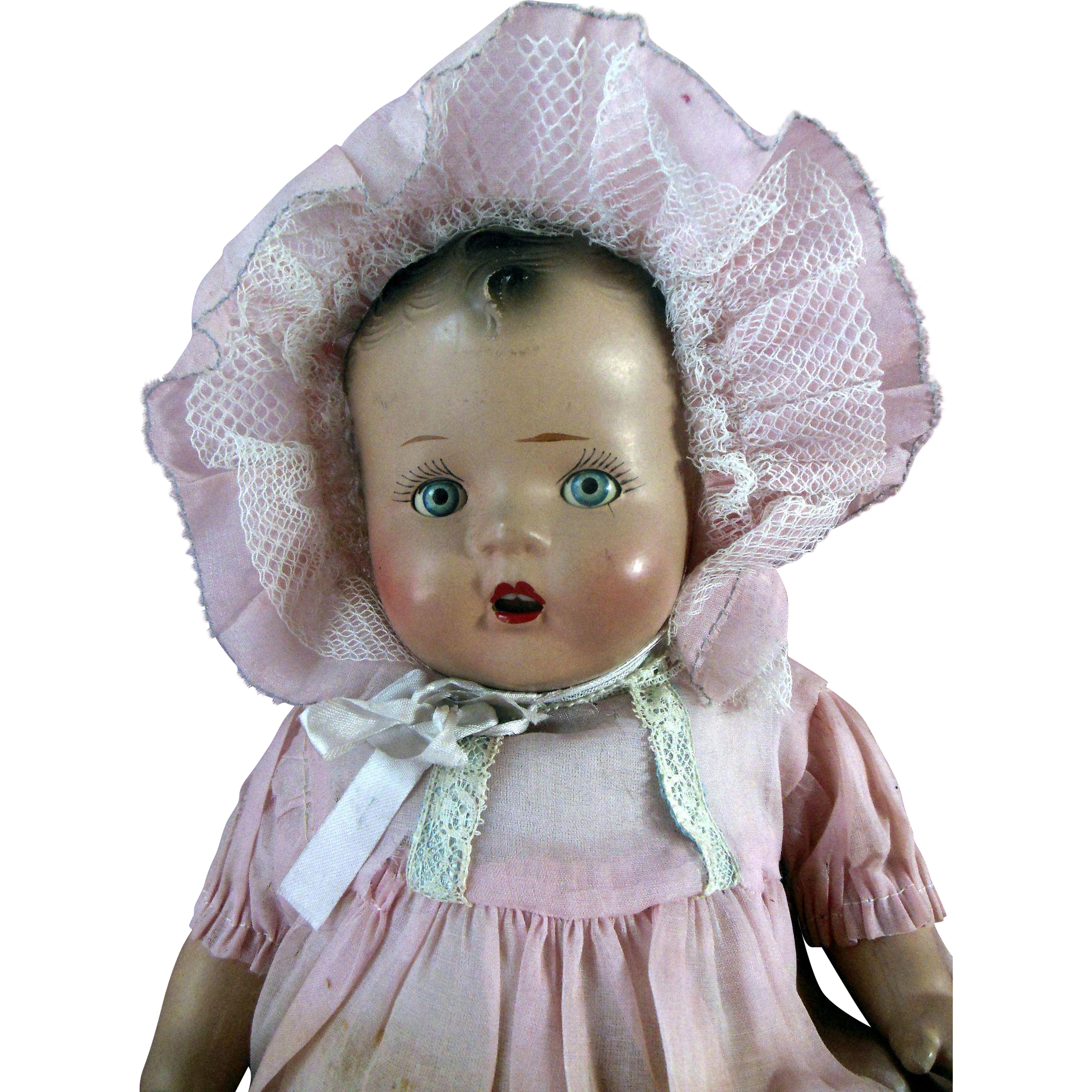 Antique Composition Baby Doll In Crisp Original Clothes Rosy Cheeks From Valeriezakantiquescollectables On Ruby Lane Baby Dolls Vintage Dolls Original Clothes