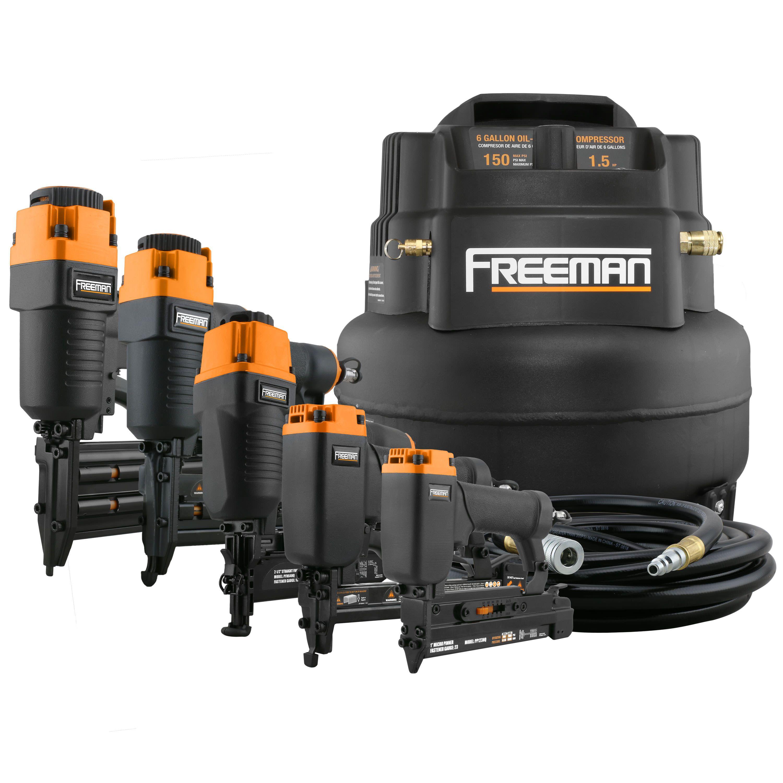 Freeman 5Piece Finish Nailer Kit w/ 6Gallon Compressor