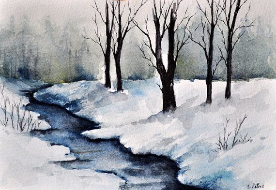 Original Watercolor Painting Winter River Landscape Painting 5x7 Inch Watercolor Pictures Winter Watercolor Landscape Paintings