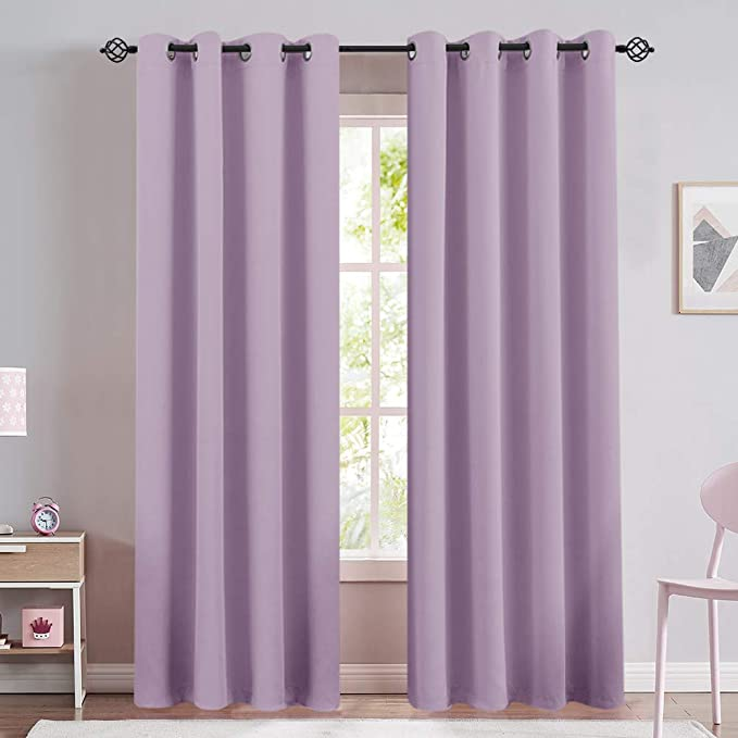 Amazon Com Lilac Blackout Window Curtains For Living Room Bedroom Thermal Insulated Light Blocking Triple We Girls Room Curtains Curtains Living Room Curtains
