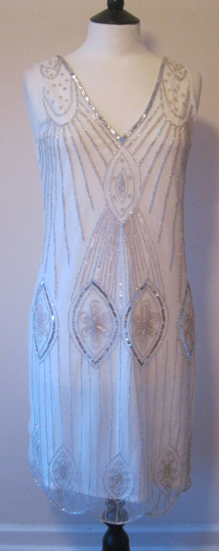 Cream White Uk10 Us6 Vintage Inspired 1920s Vibe Flapper Gatsby Beaded Robe Charleston Sequin