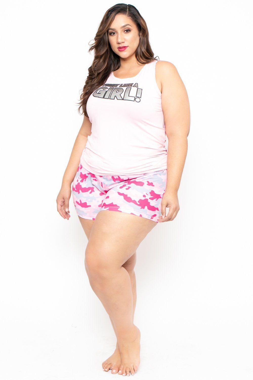 ced70deacf689 Plus Size Camo Print Pajama Set - Pink – Curvy Sense