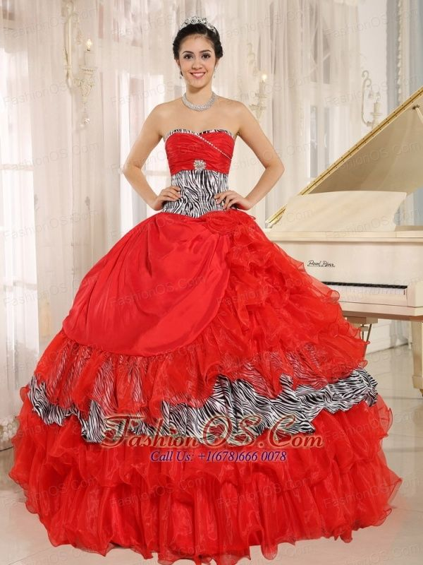 c7e1e0005fc9 Wholesale Red Sweetheart Ruffles Quinceanera Dress With Zebra and Beading  In Santa Fe http:/