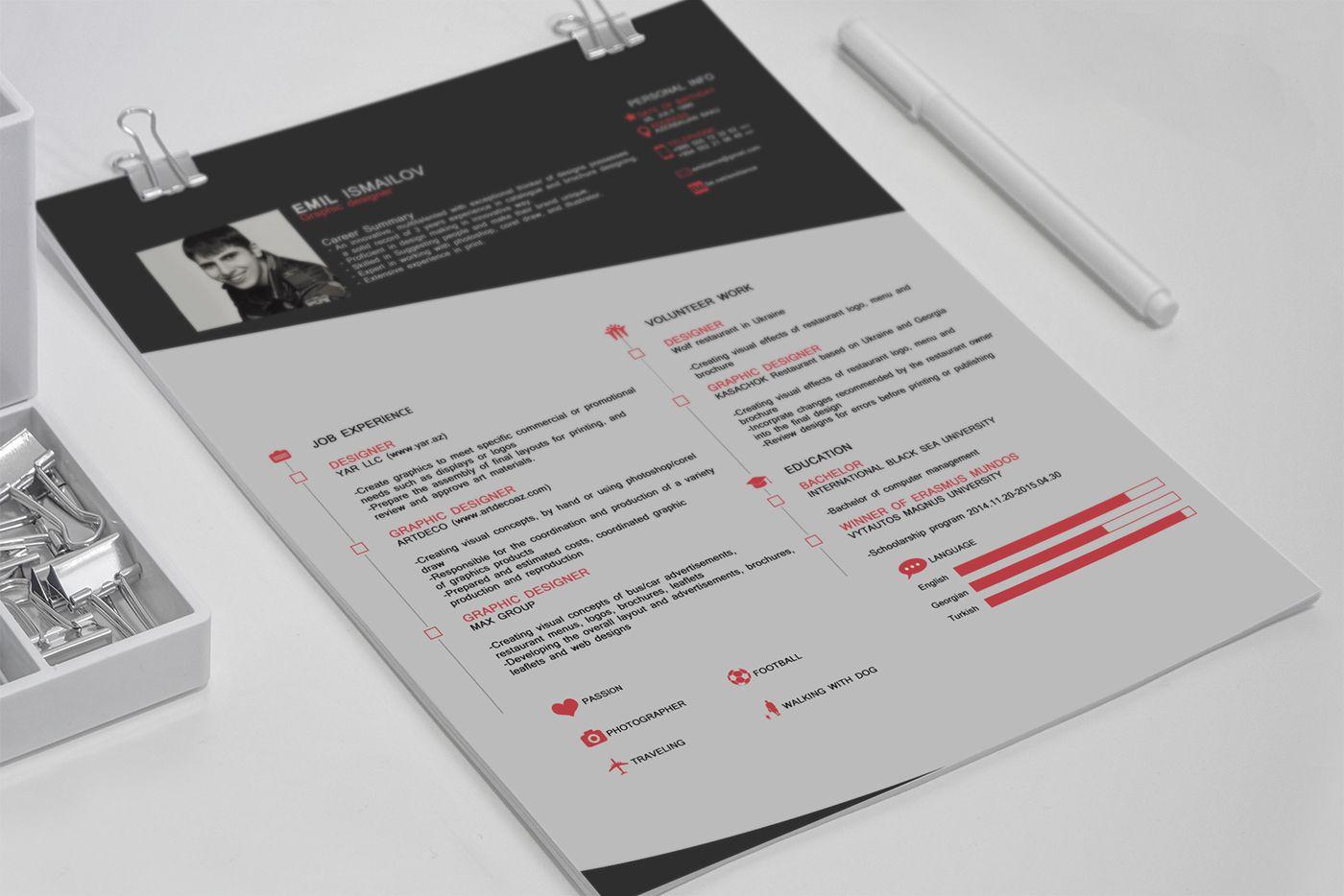 Cv Free Resume Template On Behance Resume Template Free Free Professional Resume Template Resume Template Professional