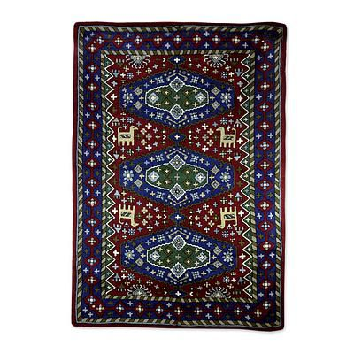 Chain Stitch Rug of Wool on Cotton (4 x 6) - Valley of Peace | NOVICA