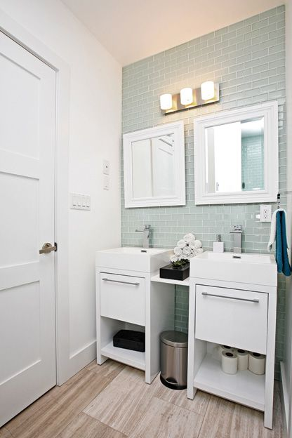 House Of The Week 889 000 For A Brand New Three Bedroom Home In Leslieville Toronto Life Double Vanity Bathroom Double Sink Small Bathroom Small Bathroom
