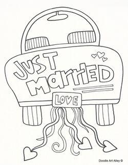 Just Married Coloring Page Kindertisch Hochzeit Ideen Fur Die