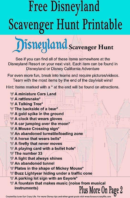 Photo of Free Printable- Disneyland Scavenger Hunt
