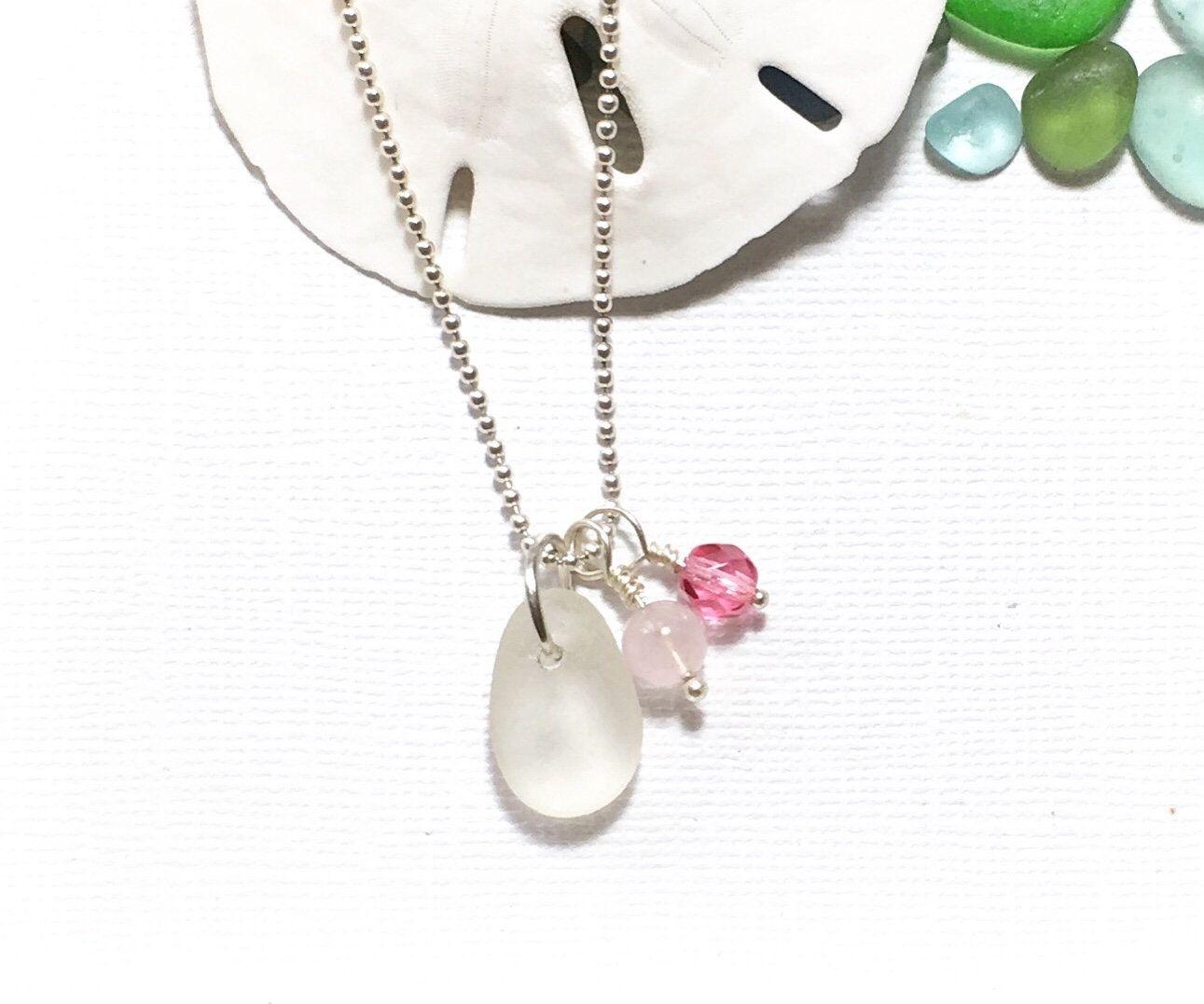 Photo of Sea Glass Jewelry Frosty White Beach Glass Necklace Garden Leaf Seaside