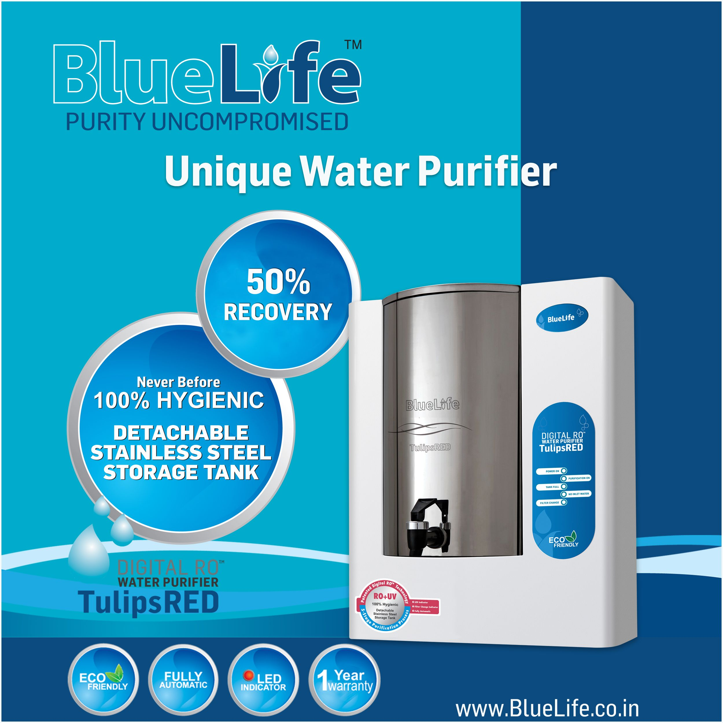 bluelifea tulipsred unique water purifier with digital ro technology