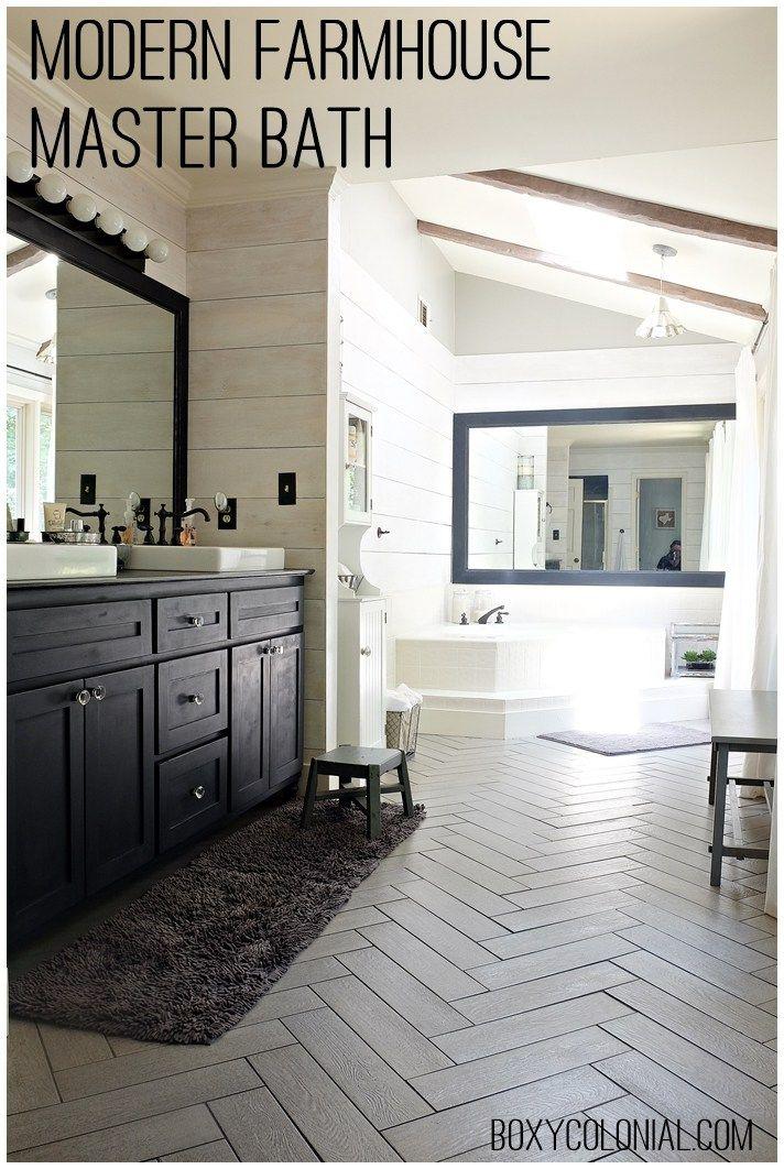Modern Farmhouse Bathroom kristi's modern farmhouse/ rustic glam master bathroom makeover
