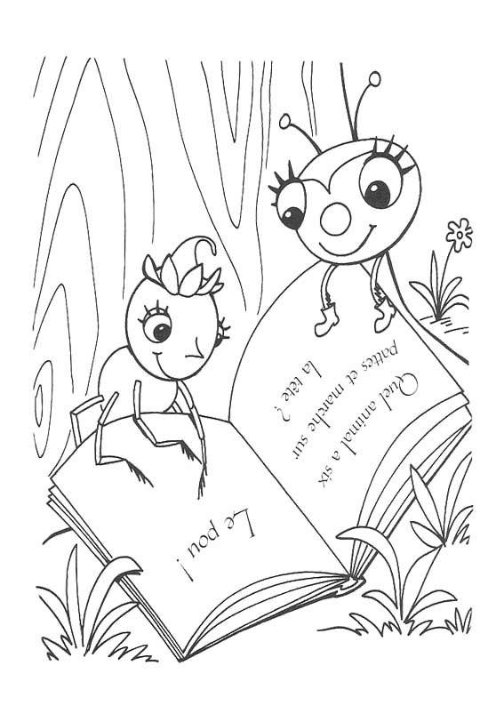 miss spider reading book coloring page