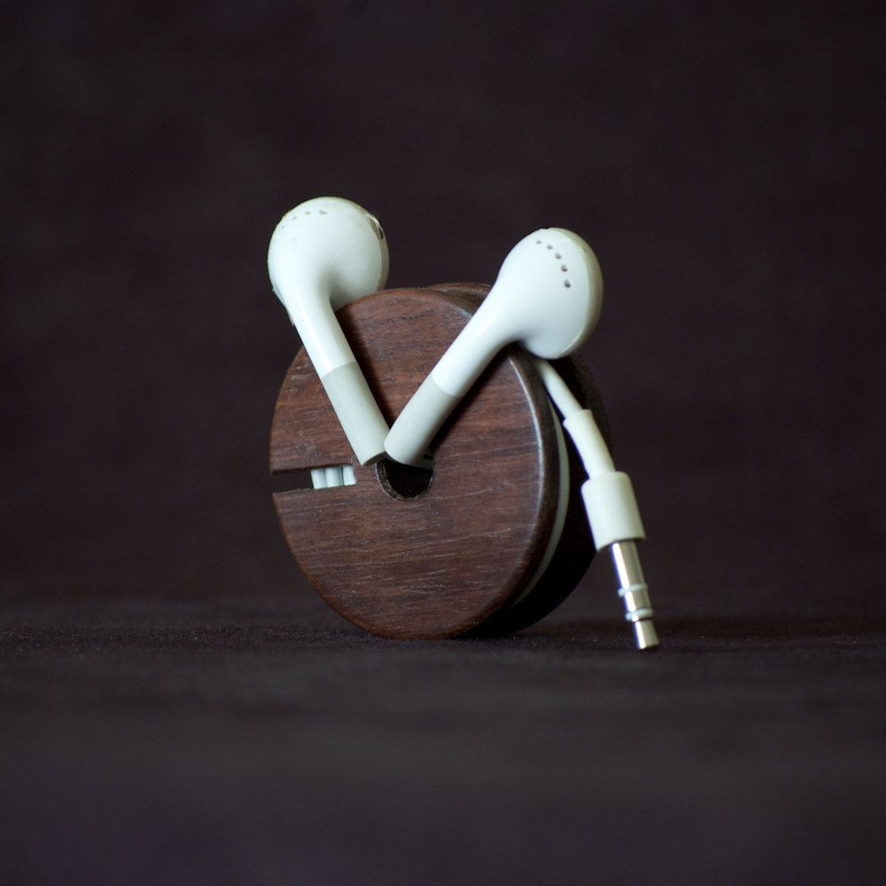 great way to organize headphones. Wood Earbud Holder / Earphone Organizer - East Indian Rosewood.