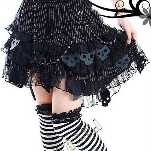 NEW Womens  Black Pink White Skulls Corset Tutu Skirt Lolita Rock Punk Gothic