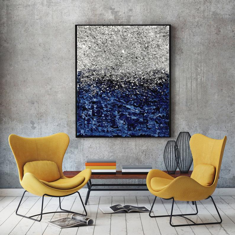 Silver Glitter Navy Blue Wall Art Original Abstract Art Textured Art Modern Canvas Painting Navy Blue Abstract Mixed Media Silver Painting Blue Art Painting Modern Art Abstract Navy Blue Wall Art