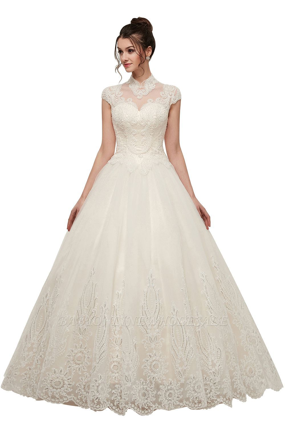 Yolande A Line High Neck Short Sleeves Long Lace Appliques