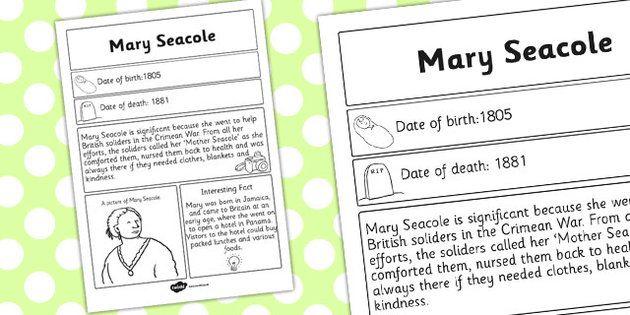 Mary Seacole Significant Individual Fact Sheet - fact sheet ...