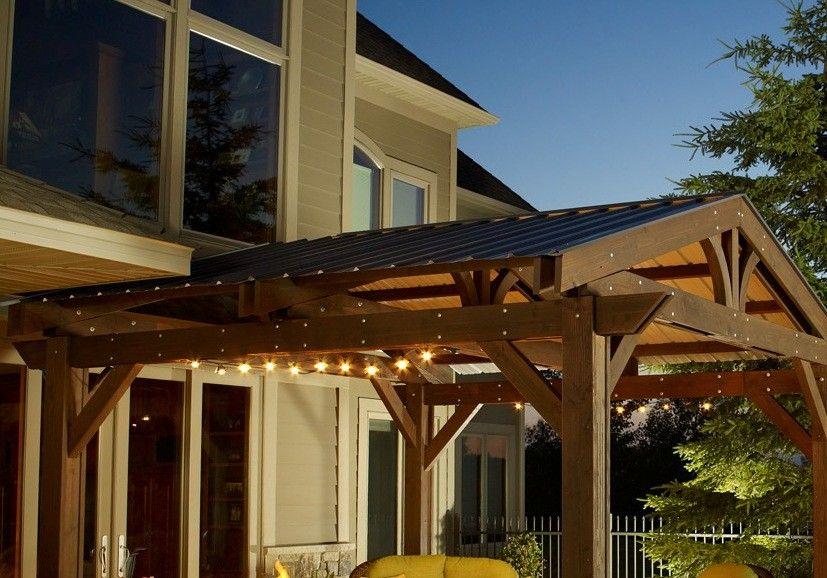 Forest Green Metal Roof For Lodge Ii Wood Pergola Modern Pergola Outdoor Pergola