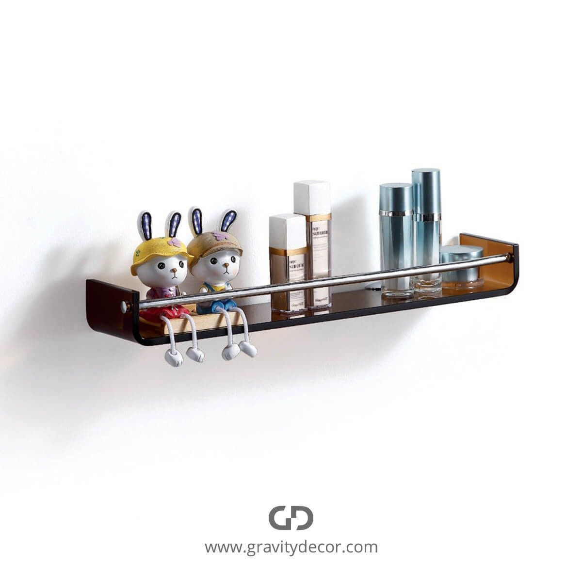 TINTED BROWN STYLISH GLASS SHELF WITH CHROME TOWEL BAR $79.99 IN ...