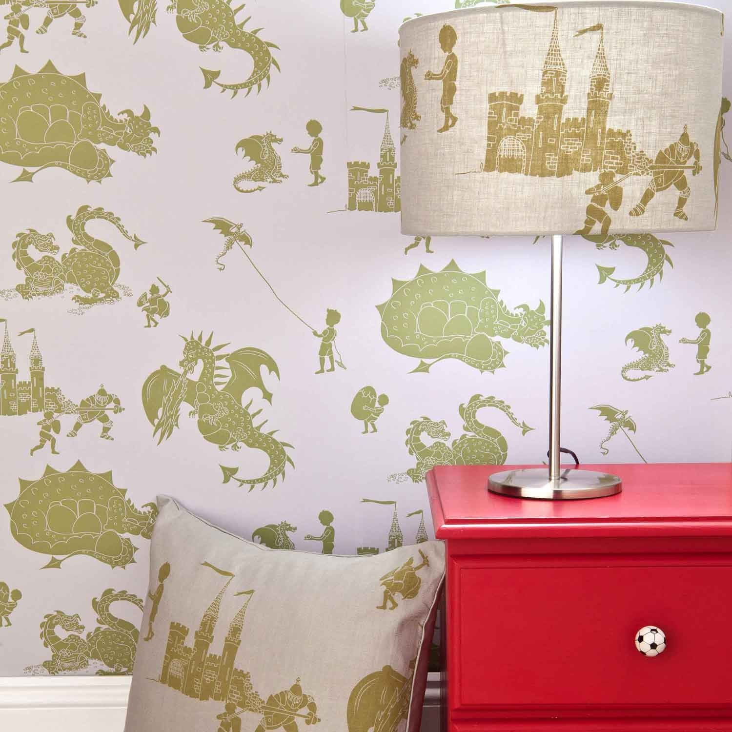 Grey Lilac Dragon Wallpaper for Children | Ere Be Dragons | PaperBoy Wallpaper for Boys Bedrooms