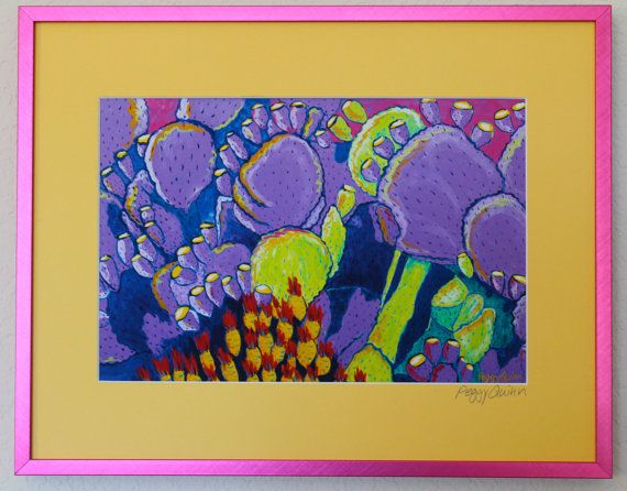 Stylized Purple Cactus Plants,   Framed Acid Free Fine Art Giclee Print with Glass, Bright Pink Frame  14.5 x 11.25 Framed