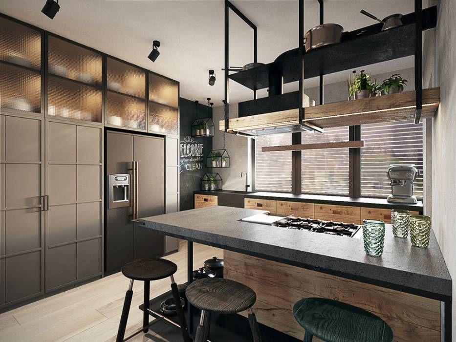Wroclaw Soltysowice 280m2 Styl Translation Missing Pl Style Kuchnia Eklektyczny W Kategorii Kuchn Loft Kitchen Industrial Interior Industrial Livingroom