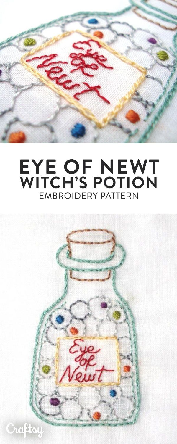 Eye of newt witchus potion embroidery hand embroidery patterns