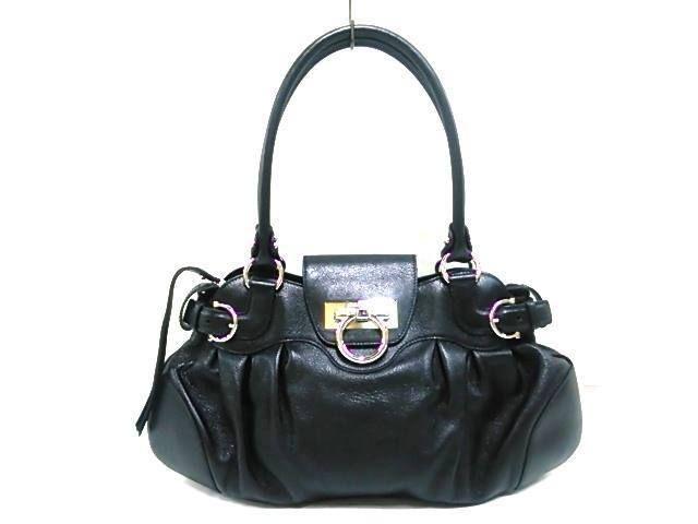 946b5278d6b6 Auth Salvatore Ferragamo Gancini Marisa AU-21 6317 Black Leather  fashion   clothing  shoes  accessories  womensbagshandbags (ebay link)