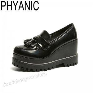 Phyanic Jesien Klinu Buty Na Wysokim Obcasie Kobiety Shllow Pomponem Oxford Buty Damskie Platformy Damskie Bu Women Oxford Shoes Casual High Heels Casual Pumps