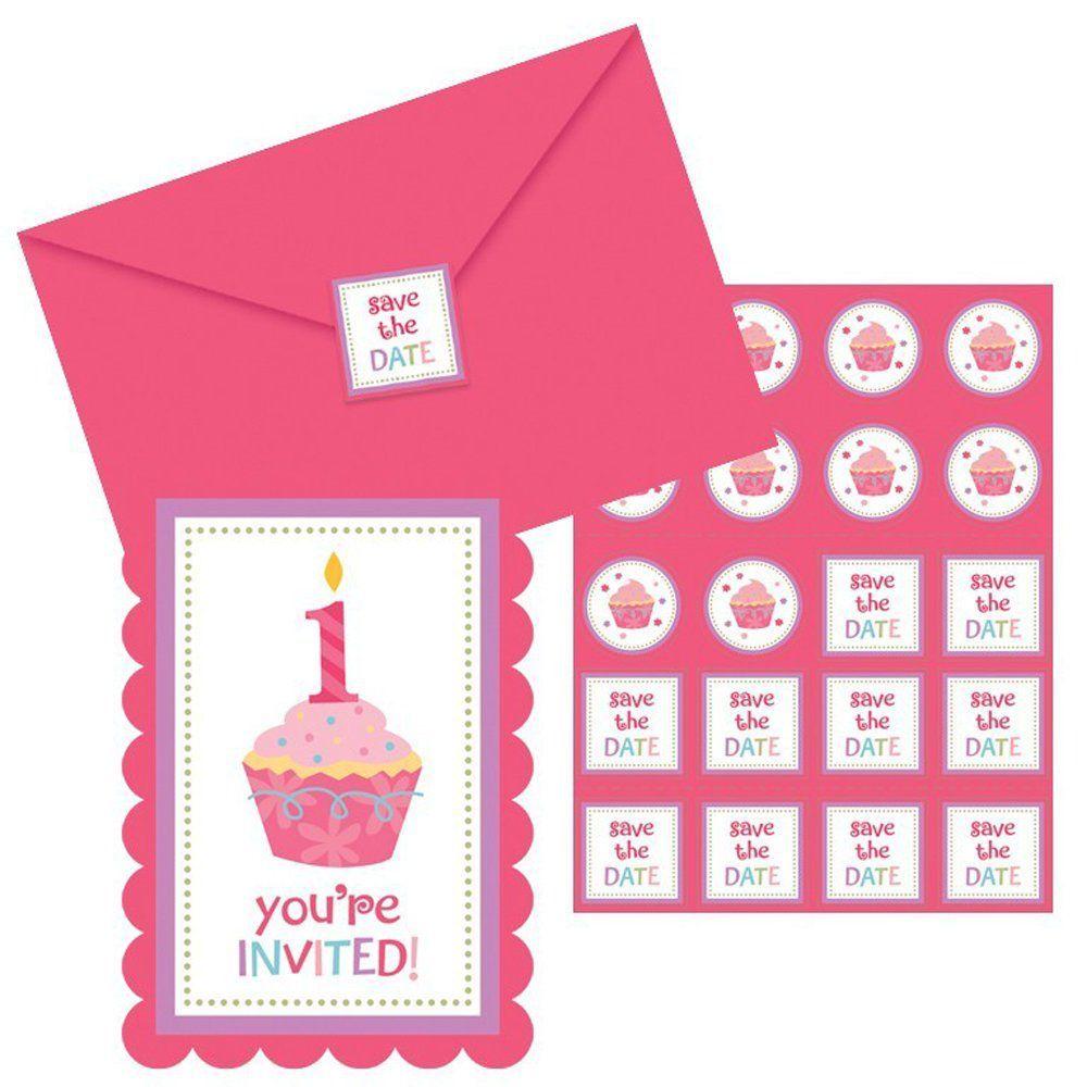 cupcake first birthday photo invitations | birthday invitations ...