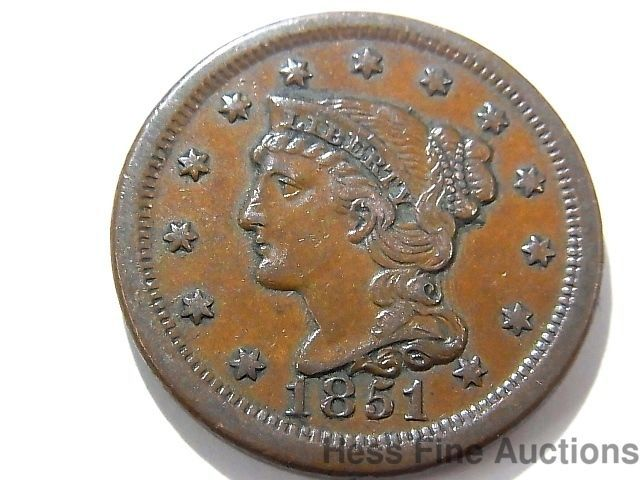 1851 One Cent Us United States Of America Large Copper Braided Liberty Coin Coins Copper The Unit