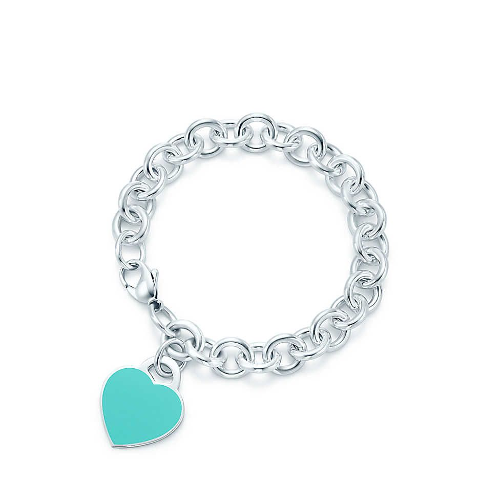 Return To Tiffany Heart Tag In Silver With Enamel Finish On A Bracelet Medium Co