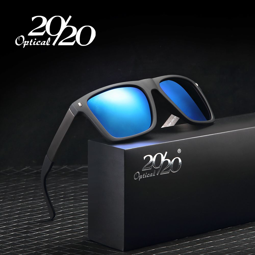 91639afe2eb 20 20 Brand Retro Sunglasses Men Polarized Square Metal Frame Blue Lens Sun  Glasses Male Driving Eyewear Gafas Oculos PL294
