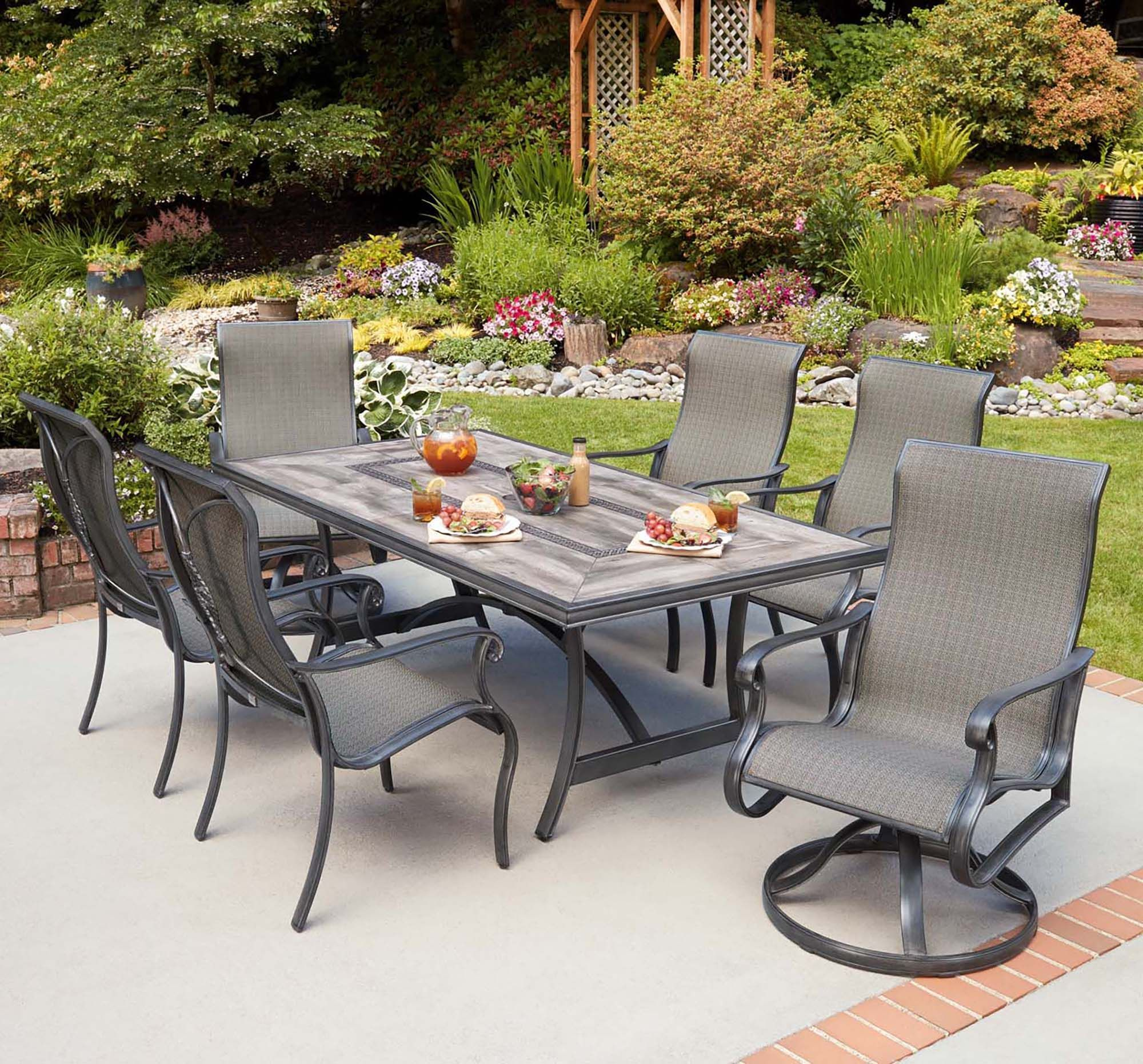 Campbell 7 Piece Sling Dining Set Costco Patio Furniture Patio Dining Set Stationary Chairs