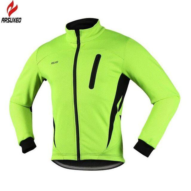 Mens Winter Cycling Jacket Thermal Fleece Bike Bicycle Jerseys Warm Windproof