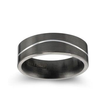 Birks Curved Wedding Band For Him In Matte Black Cobalt 7mm Curved Wedding Band Wedding Bands Wedding Bands For Him