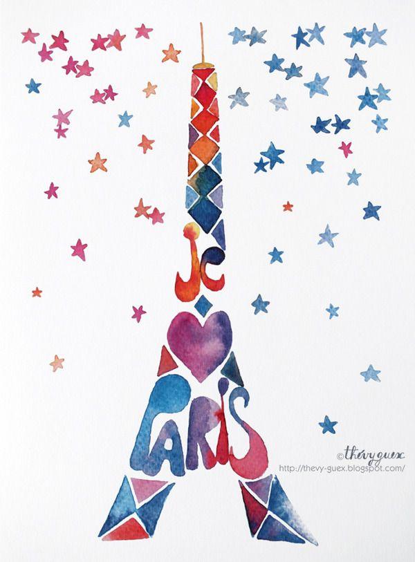 Illustration Affiche Paris Tour Eiffel Peinture Tableau Ciel Etoilé Aquarelle Multicolore Décoration Murale : Affiches, illustrations, posters par thevy-guex