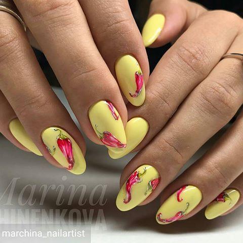 Дизайн ногтей желтые с розовым лето фото
