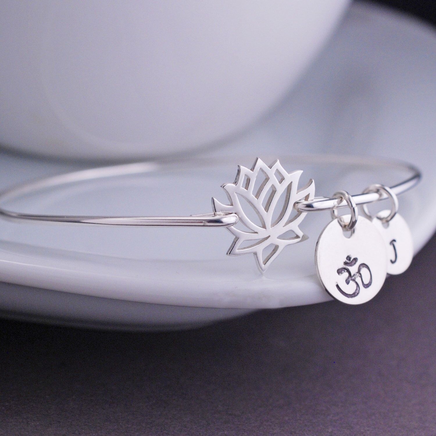 Lotus flower jewelry personalized sterling silver bangle bracelet lotus flower jewelry personalized sterling silver bangle bracelet lotus bracelet yoga bracelet silver bangle izmirmasajfo Images