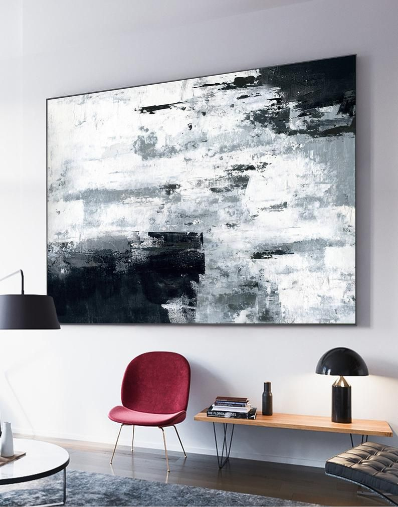 Large Original Abstract Paintinggrey White Paintingblack Etsy Black And White Wall Art Abstract Wall Painting White Wall Art