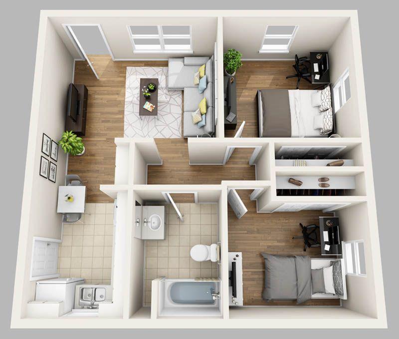 Here At College Park Gainesville We Lease Studio One Bedroom Two Bedroom Three Bedroom Four Bedr Maquetes De Casas Interiores De Casas Planta De Quitinete