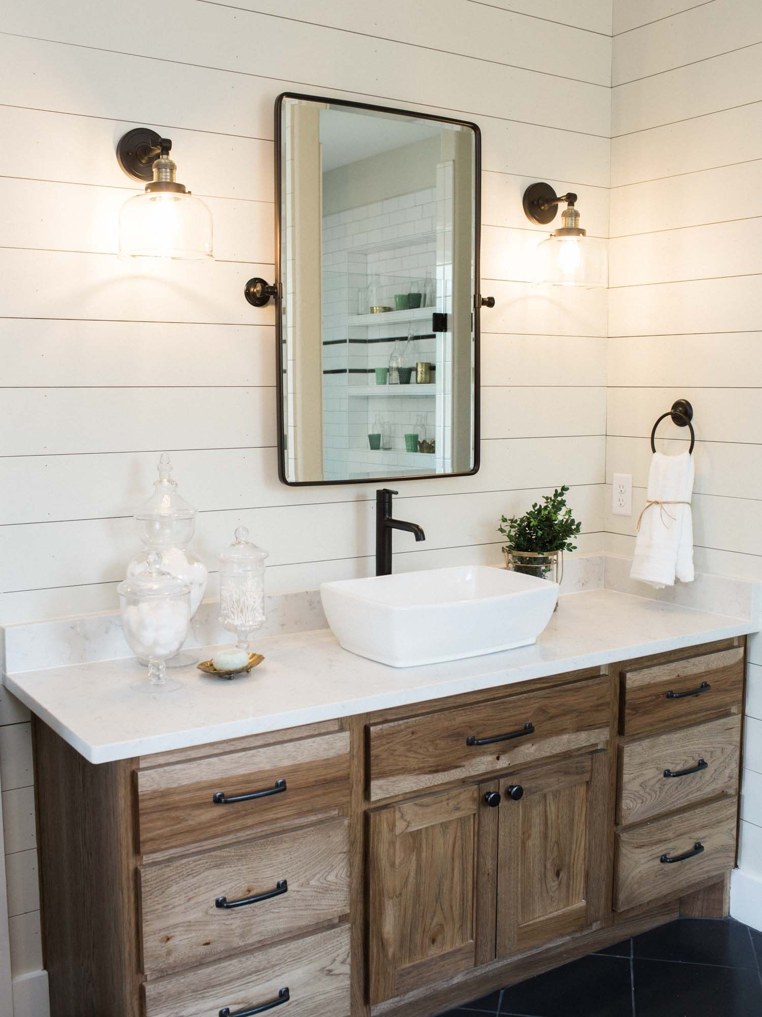 Master Bath Inspiration With Shiplap Wall Basin Sink